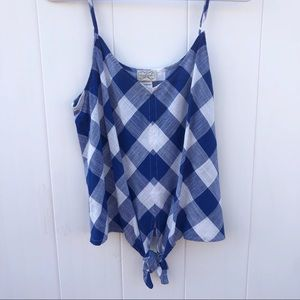 Eyelash Couture Blue & White Gingham Top Size M